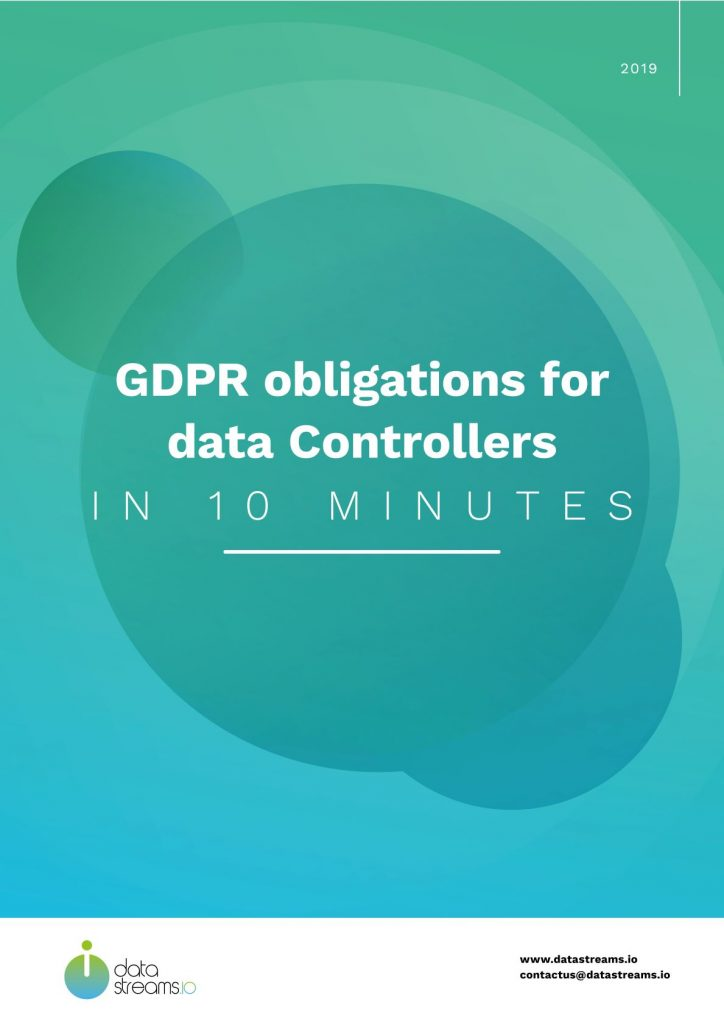Datastreams documents: GDPR obligations for data Controllers